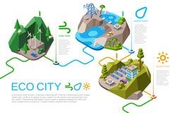 Ilustração isométrica do vetor da energia da cidade de Eco ilustração royalty free