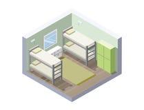Ilustração isométrica do vetor da sala da pensão ícone barato do hotel Fotos de Stock Royalty Free