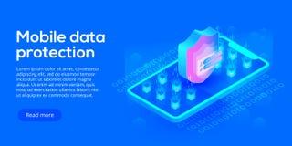 Ilustração isométrica do vetor da segurança de dados móvel Payme em linha Fotos de Stock
