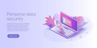 Ilustração isométrica do vetor da segurança de dados pessoal Ser em linha ilustração stock
