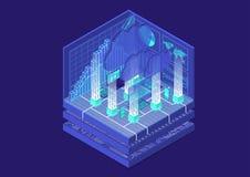 Ilustração isométrica do vetor de Cloud Computing Sumário 3D infographic com dispositivos móveis ilustração royalty free