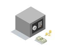 A ilustração isométrica do vetor do cofre forte pequeno do dinheiro com moedas termina cédulas Imagens de Stock Royalty Free