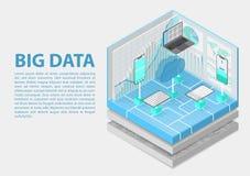 Ilustração isométrica do vetor dos dados grandes 3D abstrato infographic com dispositivos móveis e infraestrutura de tecnologia ilustração do vetor