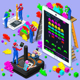 Ilustração isométrica do vetor dos povos do jogo retro do jogo de vídeo Fotografia de Stock