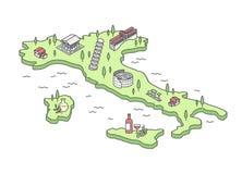 Ilustração isométrica do vetor do mapa de Itália Fotos de Stock Royalty Free
