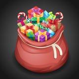 Ilustração isométrica do vetor do molde do ícone 3d do projeto dos desenhos animados do Natal de Santa Gifts Bag New Year Foto de Stock Royalty Free