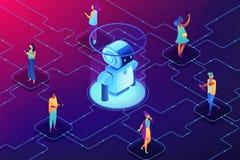 Ilustração isométrica do vetor social do conceito da robótica ilustração royalty free