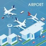 Ilustração isométrica exterior do aeroporto ilustração royalty free