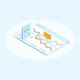 Ilustração isométrica lisa da calculadora e da carta no navegador Conceito de projeto financeiro ilustração royalty free