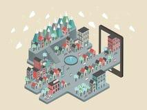 Ilustração isométrica lisa do cenário da cidade 3d Foto de Stock