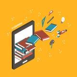 Ilustração isométrica lisa do conceito do ensino eletrónico 3d Imagens de Stock Royalty Free