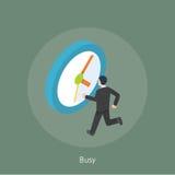 Ilustração isométrica ocupada do projeto de conceito 3d do homem de negócios Imagem de Stock