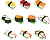 Ilustração japonesa do ícone do vetor do sushi e do Rolls Imagem de Stock Royalty Free