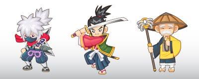 Ilustração japonesa dos caráteres da fantasia do vetor Imagens de Stock Royalty Free