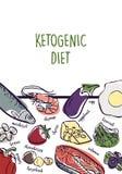 Ilustração Ketogenic da bandeira do esboço do vetor da dieta Conceito saudável com coleção da ilustração do alimento - gorduras,  ilustração do vetor