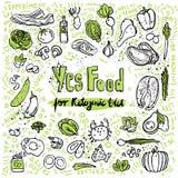Ilustração Ketogenic do esboço do vetor Alimento saudável do keto com textura e elementos decorativos - gorduras, proteínas e car ilustração stock