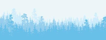 Ilustração larga de uma floresta conífera no tempo do inverno, mais Ilustração Royalty Free