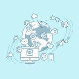 Ilustração linear azul dos meios sociais Imagens de Stock