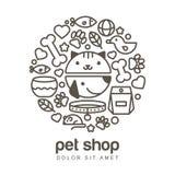 Ilustração linear do focinho engraçado do gato e do cão Bens para ilustração stock