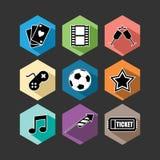 Ilustração lisa ajustada ícones do entretenimento Imagem de Stock