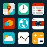 Ilustração lisa ajustada do projeto do ícone móvel da aplicação Fotos de Stock Royalty Free