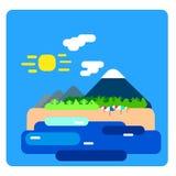 Ilustração lisa azul da ilha tropical Fotos de Stock Royalty Free
