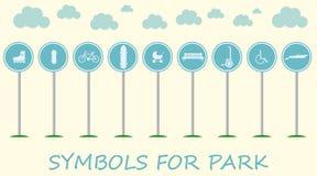 Ilustração lisa com sinais para o lazer ativo no parque ilustração royalty free