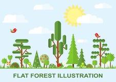 Ilustração lisa da árvore do vetor, mola Imagem de Stock