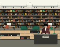 Ilustração lisa da biblioteca pública ilustração do vetor