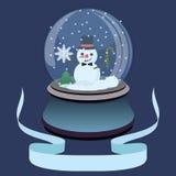 Ilustração lisa da bola da neve do Natal com boneco de neve e os flocos de neve pequenos ilustração do vetor