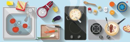 Ilustração lisa da cozinha Fotografia de Stock Royalty Free