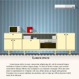 Ilustração lisa da cozinha com parede azul Foto de Stock