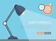 Ilustração lisa da lâmpada com ícones Imagem de Stock