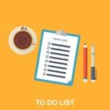 Ilustração lisa da lista de afazeres, Fotografia de Stock