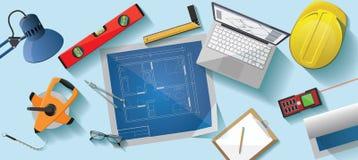 Ilustração lisa da mesa do arquiteto Imagem de Stock