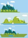 Ilustração lisa da paisagem da natureza Imagem de Stock Royalty Free