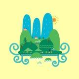 Ilustração lisa da paisagem da natureza Bandeira da paisagem Imagens de Stock Royalty Free