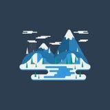 Ilustração lisa da paisagem da natureza do inverno do projeto com montanhas, Fotos de Stock
