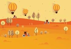 Ilustração lisa da paisagem da natureza do outono Vetor colorido Imagens de Stock