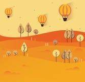 Ilustração lisa da paisagem da natureza do outono Vetor colorido Fotografia de Stock