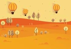 Ilustração lisa da paisagem da natureza do outono Vetor colorido Foto de Stock Royalty Free