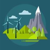 Ilustração lisa da paisagem da natureza do projeto com sol Fotografia de Stock Royalty Free