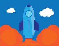 Ilustração lisa da partida do ícone do foguete Fotografia de Stock