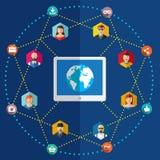 Ilustração lisa da rede social com avatars Imagens de Stock