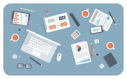 Ilustração lisa da reunião de negócios Fotos de Stock