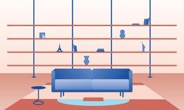 Ilustração lisa da sala de visitas Imagens de Stock