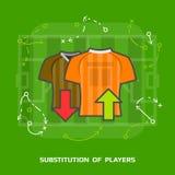 Ilustração lisa da substituição do futebol contra o verde ilustração do vetor