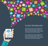 Ilustração lisa da tecnologia da nuvem Foto de Stock