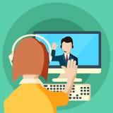 Ilustração lisa das reuniões e dos seminários das conferências da Web Fotografia de Stock Royalty Free