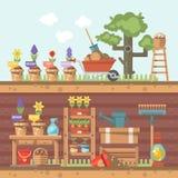 Ilustração lisa de jardinagem do vetor da mola nas cores pastel com carrinho de mão bonito, flores e ferramentas de jardim ilustração stock